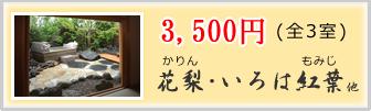 3500円全2室(花梨かりん、いろは紅葉)他